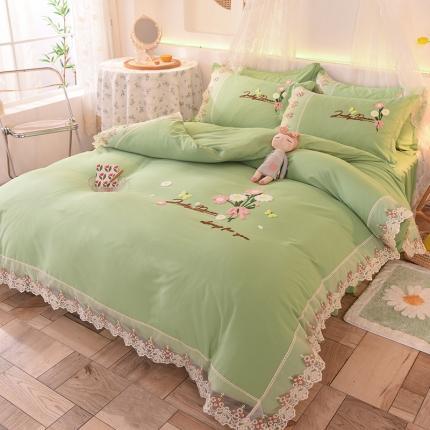 九诺家纺 2021新款小清新绣花蕾丝床裙四件套-花香物语 墨绿