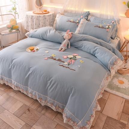九诺家纺 2021新款小清新绣花蕾丝床裙四件套-花香物语 柔光蓝
