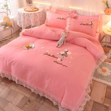 (总)九诺家纺 新款小清新绣花蕾丝床裙四件套-花香物语