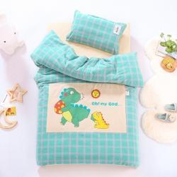 (总)哈喽家居 2021新款A类全棉水洗棉幼儿园被子三件套儿童套件