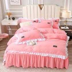 森澜家居 2021新款水洗棉床裙款四件套 粉玉