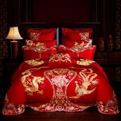 (总2)红番天2021新款40s全棉刺绣婚庆四件套多件套
