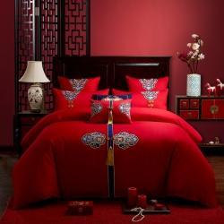 (总3)红番天2021新款40s全棉刺绣婚庆四件套多件套