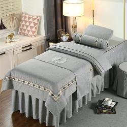 2021新款高档纯棉美容床罩四件套按摩床套棉麻洗头床罩