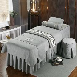 美容床罩四件套全棉简约高档奢华美容院专用按摩洗头加厚床套单件