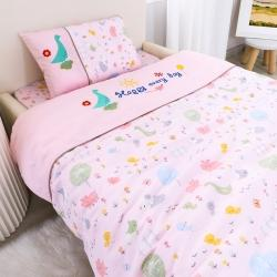 乐豆苗幼儿园A类三件套纱布婴儿床上三件套 阳光小鸟粉
