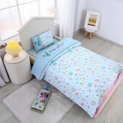 乐豆苗幼儿园A类三件套纱布婴儿床上三件套 阳光小鸟蓝