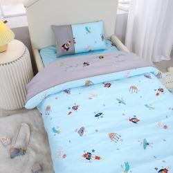 乐豆苗幼儿园A类三件套纱布婴儿床上三件套 宇宙火箭