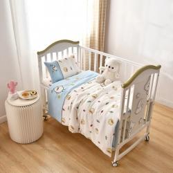 乐豆苗幼儿园A类三件套纱布床品婴儿床上三件套扁嘴鸭米白