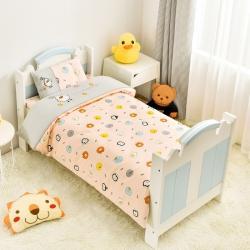 乐豆苗幼儿园A类三件套纱布床品婴儿床上三件套布朗熊