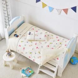 乐豆苗幼儿园A类三件套纱布床品婴儿床上三件套假日小熊米黄