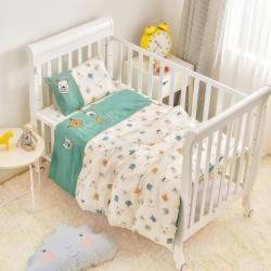 乐豆苗幼儿园A类三件套纱布床品婴儿床上三件套脸谱米