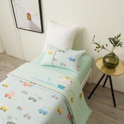 乐豆苗幼儿园A类三件套纱布床品婴儿床上三件套汽车派对水绿