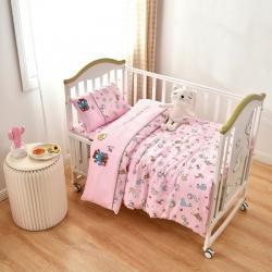 乐豆苗幼儿园A类三件套纱布床品婴儿床上三件套小熊动物派对粉