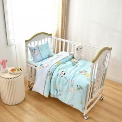 乐豆苗幼儿园A类三件套纱布床品婴儿床上三件套小熊蓝色乐园
