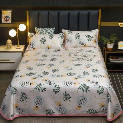 卡斯诺 2021新款床单款冰丝凉席三件套 夏日菠萝