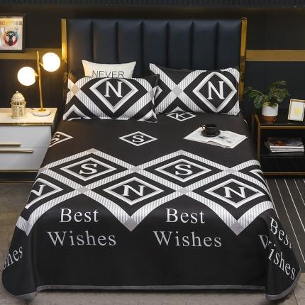 卡斯诺 2021新款床单款冰丝凉席三件套 小时代