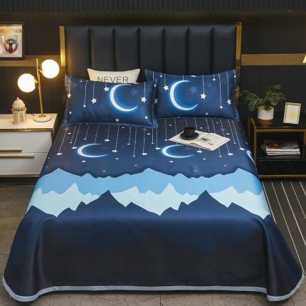 卡斯诺 2021新款床单款冰丝凉席三件套 月光曲