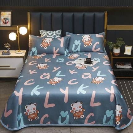 卡斯诺 2021新款床单款冰丝凉席三件套 字母熊