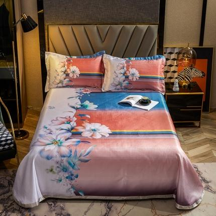 (总)简一色 2021新款凉感丝凉席床单款三件套