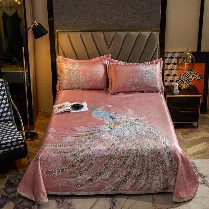 简一色 2021新款凉感丝凉席床单款三件套 凤华自赏-粉