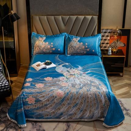 简一色 2021新款凉感丝凉席床单款三件套 凤华自赏-蓝