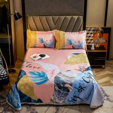简一色 2021新款凉感丝凉席床单款三件套 海底纹石-粉
