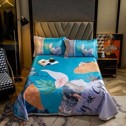 简一色 2021新款凉感丝凉席床单款三件套 海底纹石-蓝