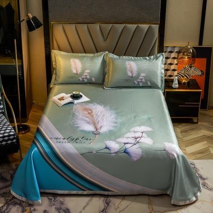 简一色 2021新款凉感丝凉席床单款三件套 轻奢羽毛