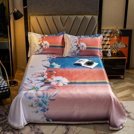 简一色 2021新款凉感丝凉席床单款三件套 仲夏花语-粉