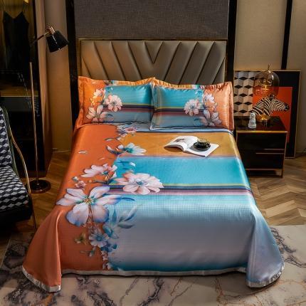 简一色 2021新款凉感丝凉席床单款三件套 仲夏花语-蓝