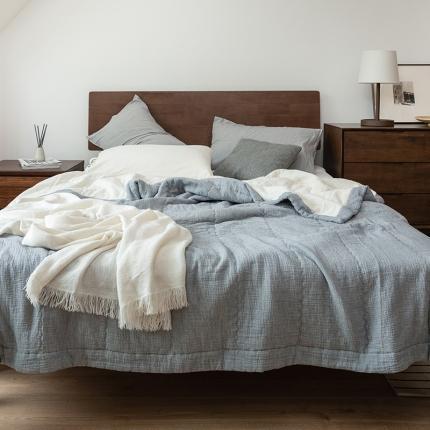 子和家居 2021新款A类可水洗两面用双层纱棉花夏被 蓝