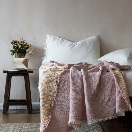 子和家居 2021新款双色风琴褶流苏毯 桔粉