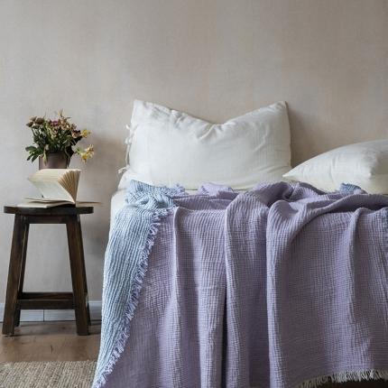 子和家居 2021新款双色风琴褶流苏毯 蓝紫