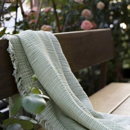 (总)子和家居 2021新款双色风琴褶流苏毯