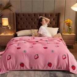 诚雨加厚高克重云貂绒毛毯350克法莱绒珊瑚绒毛毯多功能盖毯 爱心草莓