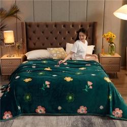 诚雨加厚高克重云貂绒毛毯350克法莱绒珊瑚绒毛毯多功能盖毯 花花世界