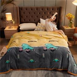 诚雨加厚高克重云貂绒毛毯350克法莱绒珊瑚绒毛毯多功能盖毯 恐龙乐园