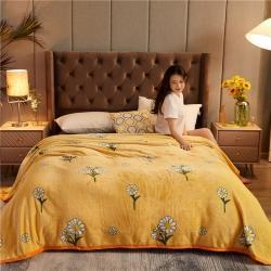 诚雨加厚高克重云貂绒毛毯350克法莱绒珊瑚绒毛毯多功能盖毯 暖阳