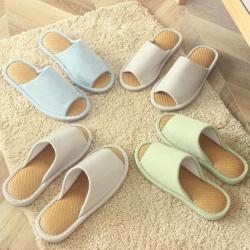 日式无印凉席底拖鞋良品夏季家居拖鞋纯色凉拖鞋地板防水拖鞋纯色