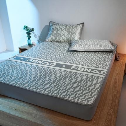 米亚 新款欧式高端1200D高克重加厚冰丝凉席床笠款 劳伦灰