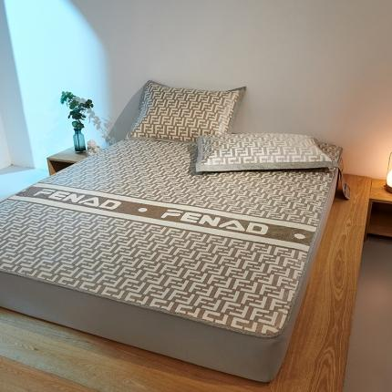 米亚 新款欧式高端1200D高克重加厚冰丝凉席床笠款 劳伦-浅咖
