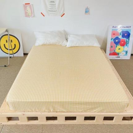 四方米 2021新款40支13372全棉单品床笠 小黄格