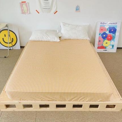 四方米 2021新款40支13372全棉单品床笠 小桔格