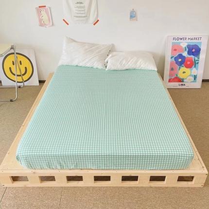 四方米 2021新款40支13372全棉单品床笠 小绿格