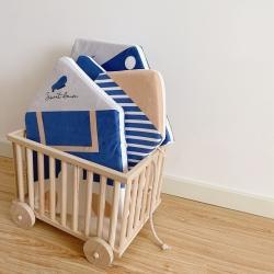 Boner婴童床品 2021新款ins北欧小房子床围 宝蓝色波点