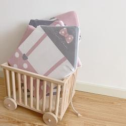 Boner婴童床品 2021新款ins北欧小房子床围 粉色波点