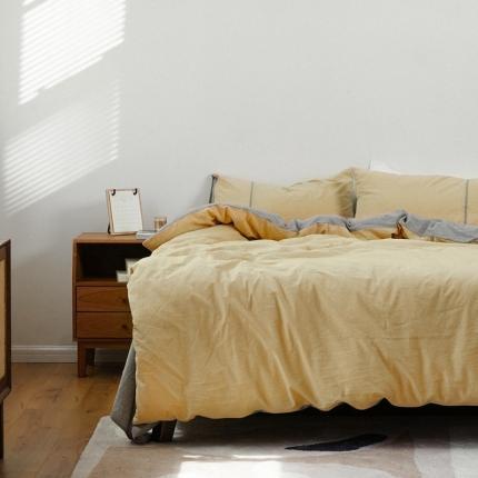 子和家居 2021新款麻理棉嵌条四件套 黄色