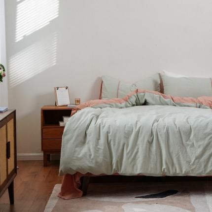 子和家居 2021新款麻理棉嵌条四件套 绿色