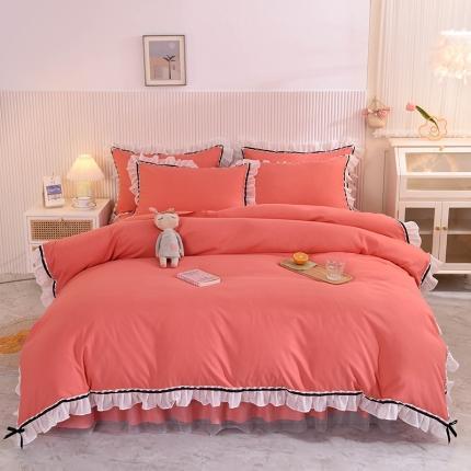 芭比蔓 2021新款蕾丝公主风加厚款四件套 爱情海砖红